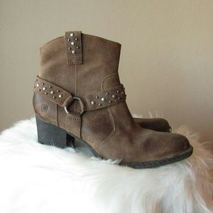 Born Brown Leather Ankle Boots Booties Size 9